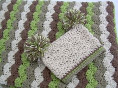 Baby Gift Set, Crochet Baby Blanket and Pom Pom Hat Gift Set, Earthy Colors, off white, tan, brown, and green