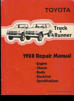 1988 Toyota Repair Manual The best way to go is a Toyota factory service manual. Unfortunately these are no longer made. So finding one can be a challenge.