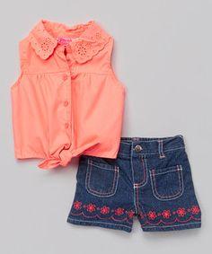 Orange Button-Up & Denim Shorts - Infant & Toddler