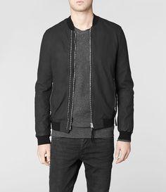 Mens Calder Leather Bomber Jacket (Black) | ALLSAINTS.com