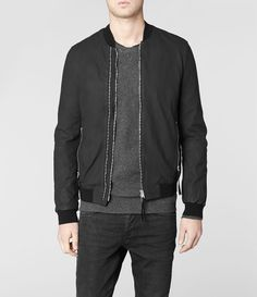 Mens Calder Leather Bomber Jacket (Black) | ALLSAINTS.com