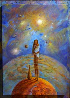 Galaxia, -oleo surrealista 60x80 original de Rudi