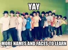 kpop meme. This is how I felt when I first saw Super Junior, and learned that they had FIFTEEN MEMBERS!!!! That's a lot of boys, but Seventeen has SEVENTEEN MEMBERS! Oh well, I can only name some of them right now though. But I have a feeling that they will be a pretty good band.