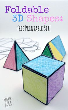 Attività geometria: i solidi 3 d _ This easy to use printable set of foldable shapes can be used for all sorts of math learning! Plus, let kids get creative and turn it into a math and art lesson in one! Math Classroom, Kindergarten Math, Teaching Math, Preschool, Teaching Geometry, Math Teacher, Math Art, Fun Math, Kids Math