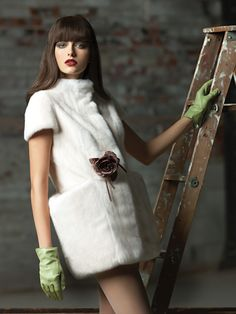 White Mink Fur Dress
