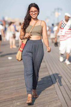 Harmeet Litt's top is from Urban Outfitters; her pants are from H&M, and her bag is from the Gap.