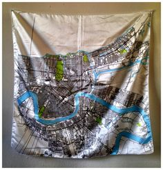 Silk Scarf with Map of New Orleans by ellenmacomber on Etsy, $100.00