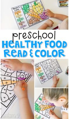 This healthy food read & color activity is perfect for identifying letters and fine motor practice with a health theme. Great for tot school, preschool, or even kindergarten! Nutrition Activities, Color Activities, Preschool Learning, Preschool Activities, Preschool Food Crafts, Morning Activities, Preschool Lessons, Learning Games, Winter Activities