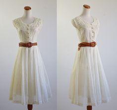 Vintage 50s Dress -- 1950s White Full Skirt Dress. I NEED.
