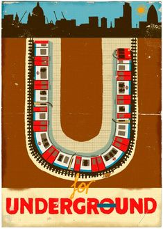 U is for Undergound from Alphabet by Paul Thurlby