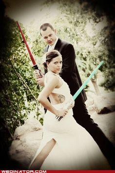 There should at least be 1 photo that the groom thinks up/wants or is related to something he's a fan of. Like if I Marry a guy who's a Star Wars fan this would be the perfect pic.  The groom goes thru all what his bride wants, I know I'll marry a good loving man so I wanna do a photo for him.