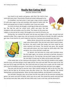 This Reading Comprehension Worksheet - Really Not Eating Well is for teaching reading comprehension. Use this reading comprehension story to teach reading comprehension. Free Reading Comprehension Worksheets, Reading Fluency, Reading Passages, Reading Skills, Comprehension Exercises, Grammar Worksheets, Teaching Reading, English Stories For Kids, Bible Stories For Kids