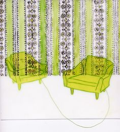 Lisa Solomon '2 lime chairs : connected', 2007 (watercolor, acrylic, and thread/embroidery on duralar, 8 x 8 inches), This relates to my work because of the use of embroidery.