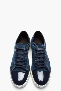 Lanvin navy two-tone patent and suede tennis shoes