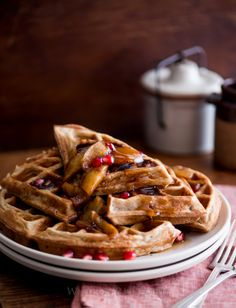 Apple Cider Waffles Recipe with Cinnamon Apples, Pomegranates | Apple ...