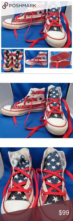 Vintage RED SOLE American Flag Converse Sneakers Vintage Rare Red Sole  Converse Hi Top Sneakers Shoes Chuck Taylor American Flag. Size US Womens 7  Mens 5 UK ... 65722e470