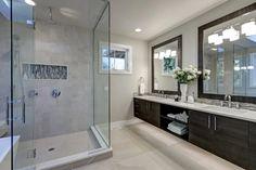 Frameless Showers | Binswanger Glass Best Bathroom Vanities, Modern Bathroom, Small Bathroom, Bathroom Interior, Sinks, Bathroom Mirrors, Bathroom Cabinets, Minimal Bathroom, Boho Bathroom