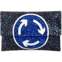 Pre-owned Anya Hindmarch Valorie Roundabout Clutch ($245) ❤ liked on Polyvore featuring bags, handbags, clutches, blue, leather purses, woven leather handbags, blue leather purse, leather clutches and genuine leather purse
