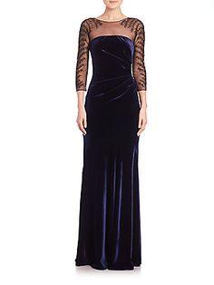 Teri Jon by Rickie Freeman Velvet Illusion Gown