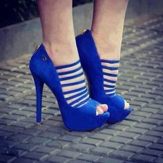 Lady in blue suede shoes