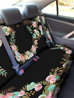 Mint And Gold Floral Car Seat Cover Back For Accessories Covers Vehicle Protectors