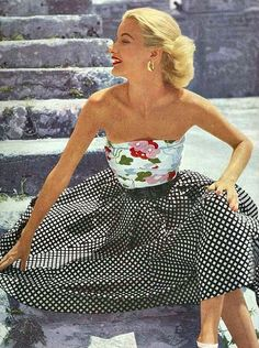 Sunny Harnett wearing a strapless summer ensemble, 1951.