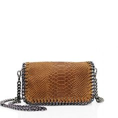 ea25fdf0174 Ladies Real Leather Snakeskin Embossed Stich Effect Chain Trim Cross Body Bags  Women Girls Shoulder Bags (Beige): Amazon.co.uk: Clothing