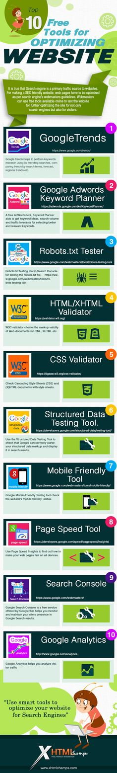 Top 10 Free Tools for Optimizing a Website #infographic #seo #tools