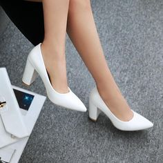 c73225fe9d4d Pointed Toe Chunky Heel Pumps Women High Heels Shoes 8259