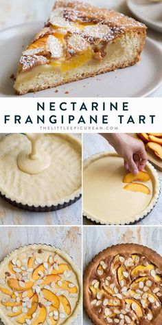 This nectarine frangipane tart consists of an almond shortbread crust and a creamy almond filling topped with nectarine wedges and sliced almonds. The tart Nectarine Dessert, Nectarine Recipes, Nectarine Pie, Bbq Desserts, Desserts To Make, Delicious Desserts, Dessert Recipes, Easy Tart Recipes, Sweet Recipes