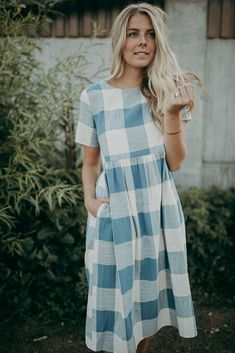 THE LUCY CHECK MIDI DRESS IN BLUE