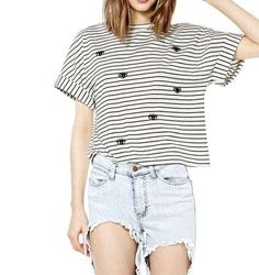 Casual black and white striped shirt $12.99