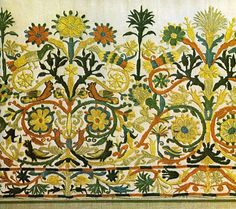 Read article about The Embroidery of Crete - The traditional richly embroidered work and more articles about Textile industry at Folk Embroidery, Embroidery Stitches, Embroidery Patterns, Indian Embroidery, Indian Patterns, Color Patterns, Fabric Decor, Fabric Art, Fabric Embellishment