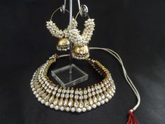 White Stone And Pearl Studded Necklace With Pearl Jhumkaa
