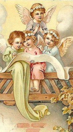 ^♥^ ☫ ^i^ Ꭿɲɠҽℓʂ ^i^ ☫ ^♥^ ~ Vintage angels Vintage Christmas Cards, Christmas Images, Christmas Angels, Christmas Art, Vintage Cards, Vintage Postcards, Christmas Postcards, Xmas, Vintage Pictures