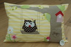 Cute Owl On A Swing Pillow