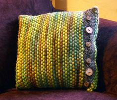 wovenpillow by pumpkinknits, via Flickr | This. This is a good idea.