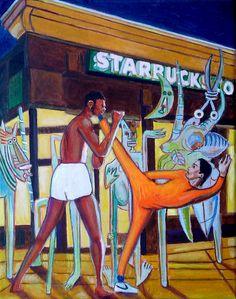 #junglenight ©GN2017; 14 x 11 in; acrylic, pencils, ink & oil on canvas.  #BruceLee #KareemAbdulJabar #GameOfDeath1978 #WifredoLam #TheJungle1943 #Starbucks #globalization #commercialization #art #arte #pintura #painting #Nike #contemporaryart #Pop #postpostModern #GabrielNavar   http://gabrielnavar.com