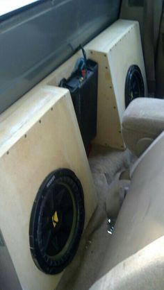 Speaker box with two kicker comp - Truck Speaker Box, Truck Subwoofer Box, Subwoofer Box Design, Custom Car Interior, Truck Interior, Interior Ideas, Custom Car Audio, Custom Cars, Vw Caddy Mk1