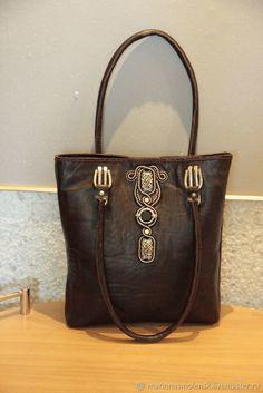Купить сумка шоппер из натуральной кожи, декор сутаж в интернет магазине на Ярмарке Мастеров