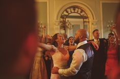 Couple enjoying the first dance at their wedding, in love, at Denton Hall, in Ilkley, Leeds in Yorkshire.