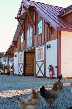 Barn Pros Denali gable barn located in Nanaimo Canada. chickens Beautiful red and white horse barn with metal roofing. Dream Stables, Dream Barn, Horse Stables, Horse Farms, Horse Shelter, Home Decoracion, Barn Living, Country Living, Barn Garage