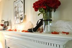 Lots of flowers on top of our huge mantel to eat up all that empty space. Black White Wedding Dress, Paris Bridal Shower, Wedding Stuff, Wedding Ideas, Diy Ideas, Party Ideas, Shower Inspiration, Paris Theme, Baby Showers