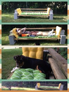 DIY outdoor couch  12 cinder blocks ($1.30 each at Lowe's)  6 8' 2x4s ($2 each at Lowe's)  Cushions on sale from Kohl's  All for less than $100  We really wanted a back, so we added a few more cinder blocks and wood.   Looks great and works well.