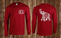 Aztec, Tribal,, Long Sleeve, Tee Shirt, T-Shirt, Shirt, Monogrammed, Tee, Football Team Shirt, Alabama Shirt, Alabama Monogram, Elephant