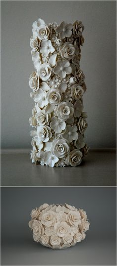 Emma Clegg Medium Hedgerow Vase, clay florals --- orr make a covered ball Porcelain Jewelry, Porcelain Ceramics, Ceramic Vase, China Porcelain, Clay Flowers, Ceramic Flowers, Pottery Vase, Ceramic Pottery, Slab Pottery