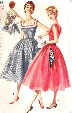 """1950s Summer Summer Full Skirt Party Dress Vintage Sewing Pattern Simplicity 1044 bust 30"""". $14.00, via Etsy."""