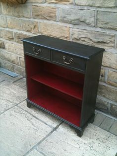 Stylish small bookcase hand painted in Annie Sloan Graphite and Burgundy and protected with soft clear wax.