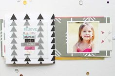 Use vellum to soften a busy pattern, then stitch the title on top.  My Minds Eye blog.