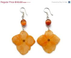 20 OFF Orange Hydrangea Earrings on sale by AmazoniaAccessories, €8.00